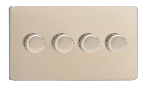 Varilight JDNDP254S Screwless Satin Chrome 4 Gang 2-Way Push-On/Off LED Dimmer 0-120W V-Pro